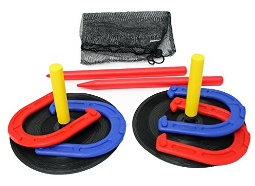 Indoor Outdoor Horseshoes Game Set - Backyard Games Horseshoeing Kit Throwing Toy Horse Shoe Throw Toss for Kids Children Adults Family Parties - Yard Lawn Garden with Travel Bag by Perfect Life Ideas