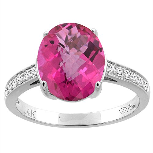 14K White Gold Natural Pink Topaz Ring Oval 11x9 mm Diamond Accents, size 10