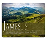 Bible verse James 1:5 Mouse Pads Customized Made to Order Support Ready 9 7/8 Inch (250mm) X 7 7/8 Inch (200mm) X 1/16 Inch (2mm) High Quality Eco Friendly Cloth with Neoprene Rubber MSD Mouse Pad Desktop Mousepad Laptop Mousepads Comfortable Computer Mouse Mat Cute Gaming Mouse_pad