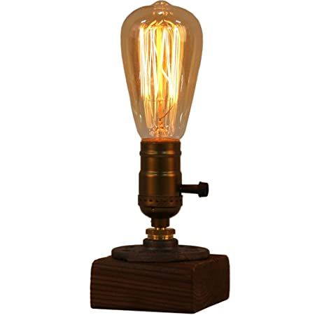 OYGROUP Wood Night Light Table Lamp Vintage Desk Lamp E27 Edison Bulb Wooden