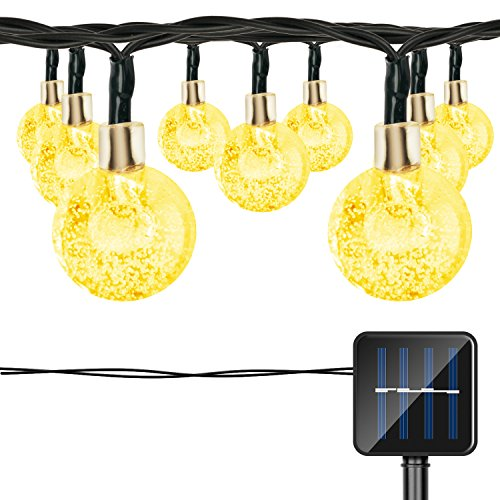 LIFU Globe Solar String Lights, 20ft 30 Waterproof LED Fairy Crystal Ball Christmas Lights, Outdoor Decorative for Home, Garden, Patio, Lawn, Party