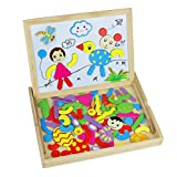 Magnetic Jigsaw Puzzles Wooden Drawing Board Set Doubled Sides Toy for Kids Children 3 Years
