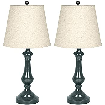 Haitral table lamp metal contemporary set of 2 beside desk lamps with linen drum shade