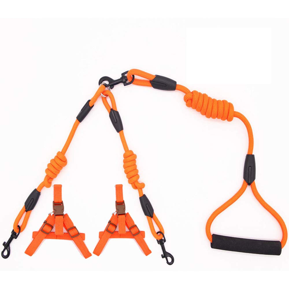 orange(3) X-Large orange(3) X-Large Double Elastic Dog Leashes, Double H ead Adjustable, Pet Traction Rope-for Walking Jogging Training