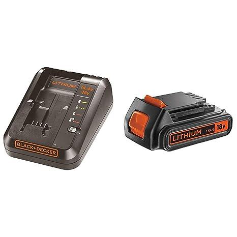 BLACK+DECKER BDC1A-QW - Cargador para baterías de litio 14.4 y 18V + BLACK+DECKER BL1518-XJ - Batería de litio 18 V, 1.5 Ah