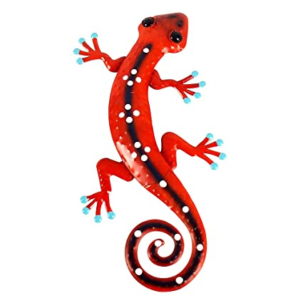 Liffy Metal Gecko Wall Art Lizard Outdoor Decor Garden Decorations Red 12 Long