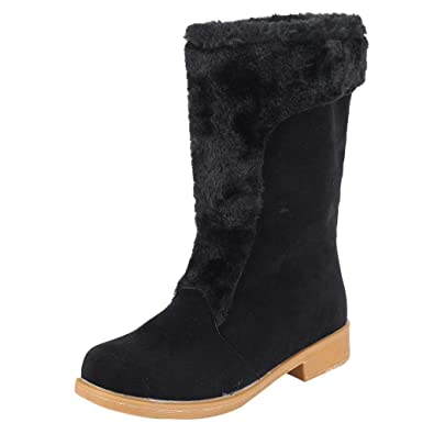 a0ac486e796 Sunmoot Suede Warm Snow Ankle Bootie Women Winter Chunky Square High Heel  Round Toe Shoes