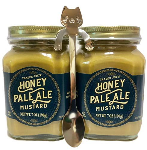Trader Joes Honey Pale Ale Mustard, 2 Jars, Stainless Steel Cat Serving Spoon Bundle - Party Picnic Condiment ()