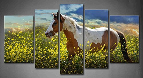 First Wall Art - 5 Panel Wall Art Painted Pony A Choctaw Horse Walks Through A Field Of Yellow Mustard Plants Painting Pictures Print On Canvas Animal The Picture For Home Modern Decoration piece (Stretched By Wooden Frame,Ready To Hang)