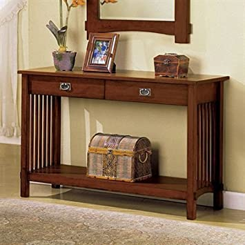 Mission Style Charter Oak Finish Hallway Console Table