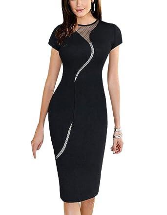 5db677f99e189 Minetom Femme Elégant Slim Robe Crayon Manches Courtes Soirée Cocktail  Clubwear Patchwork Dress