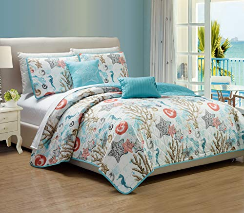 RT Designers Collection Coastal 5-Piece Quilt Set, Queen (Tropical Sets Queen Bedding)