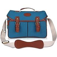 Kattee Unisexs PU Leather Canvas DSLR Camera Shoulder Bag