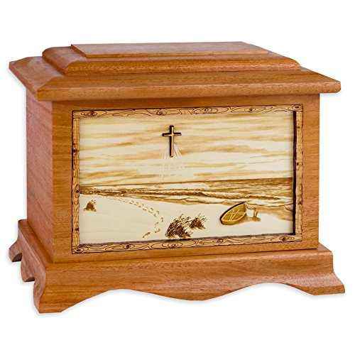 Wooden Cremation Urn - Ambassador Shape with Footprints in the Sand 3-Dimensional Inlay Wood Art Memorial - Funeral Urns for Adults with Christian Cross Beach Artwork (Solid Mahogany Wood) by Urns Northwest