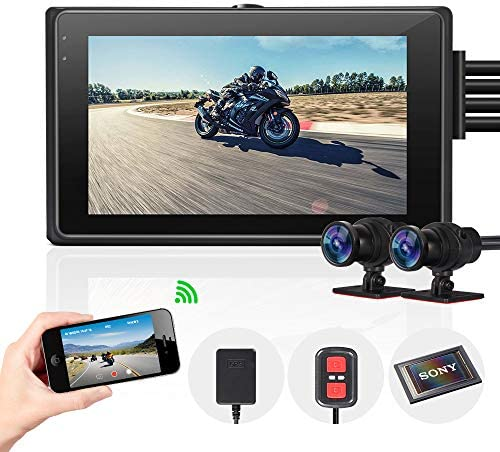 Vsysto Motorcycle Camera Front Rear 2 Channels Lens Dash cam for Sports Bike Motorcycle DVR Recording System with Full HD Front and Rear View Wide Angle 3.0 LCD 1080P IMX323 waterproof case