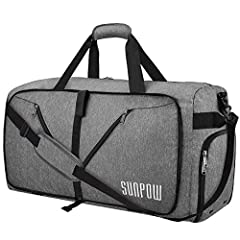 SUNPOW 65L Packable Travel Duffel Bag, Lightweight Water Repellent Sports Gym Bag With Shoes Compartment & Anti-Thief Pocket, Design To Make Your Life More Convenient.Specifications: Product Dimensions (Unfolded Dimension): 26.3 x 13.7 x ...
