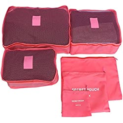 WEISHEN Men and Women Luggage Travel Bags Packing Cubes Double Zipper Waterproof Polyester Bag 6pcs/set (Watermelon Red)