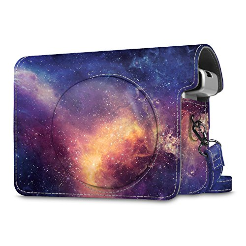 Fintie Protective Case Compatible with Fujifilm Instax Wide 300 Instant Film Camera - Premium PU Leather Protective Bag Cover w/Removable Strap, Galaxy