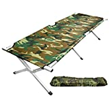 Grizzly Outdoors - Steel Frame CAMO Camp Cot with CAMO Carry Bag 250 LB Capacity Steel Frame