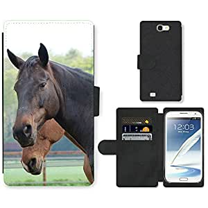 Hot Style Cell Phone Card Slot PU Leather Wallet Case // M99999129 Horse // Samsung Galaxy Note 2 II N7100