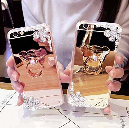 Funda iPhone 7/8 4.7,Saincat TPU Silicona Carcasa Caso Diamante Piedras de Strass Brillo Bling Flores Espejo Funda Mirror Case con Ring Stand Holder Bumper Case Cover para Apple iPhone 7/8 4.7 -Oro Oro