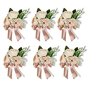 HiiARug Wrist Corsage, Artificial Wrist Flower Tea Rose Carnation Bride Bridesmaid Wedding Hand Flower Decor for Prom Party Wedding Suit (C Corsage Pink 6PCS)