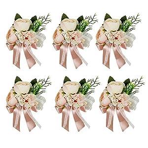 HiiARug Wrist Corsage, Artificial Wrist Flower Tea Rose Carnation Bride Bridesmaid Wedding Hand Flower Decor for Prom Party Wedding Suit (C Corsage Pink 6PCS)