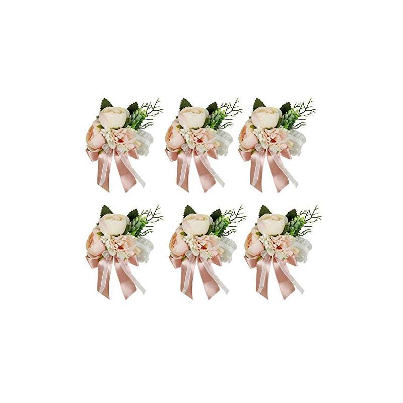 silk flower arrangements hiiarug wrist corsage, artificial wrist flower tea rose carnation bride bridesmaid wedding hand flower decor for prom party wedding suit (c corsage pink 6pcs)