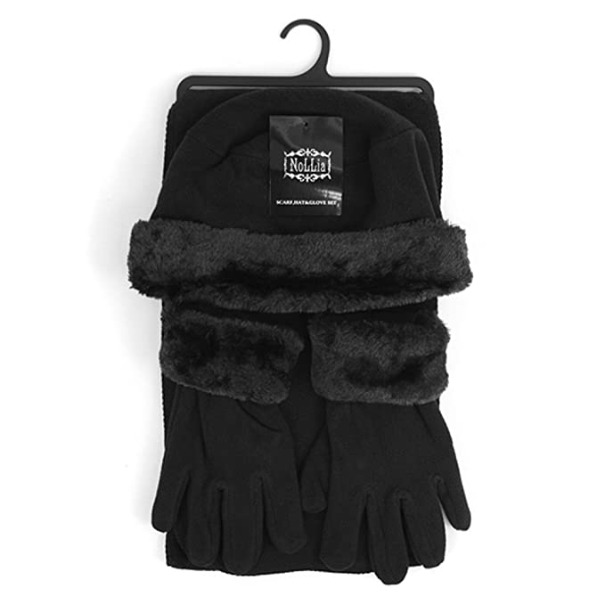 baa6a107adf Women s 3 PC Cloche Faux Fur Trim Fleece Hat Scarf   Gloves Winter Set  (Black