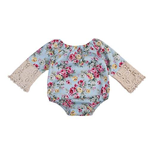 Newborn Baby Girls Clothes Lace Floral Retractable Elastic Bodysuit Romper Jumpsuit (3-6 Months, Blue)