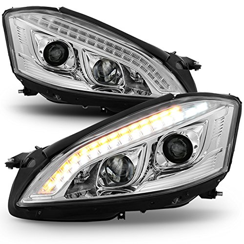 For 2007-2009 Benz W221 S-Class [HID Type] Chrome Clear LED DRL Projector Headlights Left+Right Pair