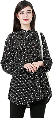 Ababalaya Women's Casual Polka Dots Long Sleeve Muslim Kaftan Malaysian Long Blouse M-6XL,Black,Tag Size L = US Size - Women Pictures Malaysian