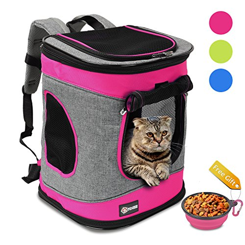 Tirrinia Pawsse Comfort Pet Carrier Backpack for Cats and Dogs up to 15 LBS Airline-Approved Travel Carrier for Pets Hiking, Walking, Cycling & Outdoor Use 16″ H x13.2 L x12 Pink
