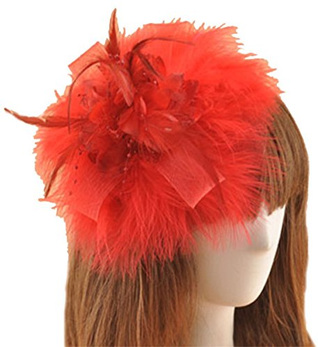 [Fascinator Hair Clip Feather Headpiece Cocktail Party Wedding Hair Accessories (Red)] (Cosplay Costume Making)