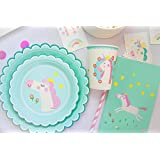 Unicorn Theme Birthday Party Set Supplies Pack - Accessories, Decorations for Kids Parties - Table Sets For Girls - Paper Plates, Cups, Napkins, Goodie Bag, Straws & Gift Favors for 16 Ppl