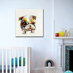 SEVEN WALL ARTS - 100% Hand Painted Oil Painting Animal Cute Dog with Stretched Frame (24 x 24 inch, Small Cute Dog)