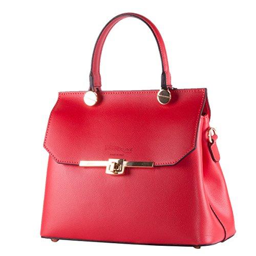 Rouge véritable sac Italy en prendre Made cuir ELEONORA une pour Alfa main BORDERLINE 100 in q8g6wxtHn