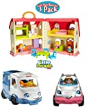 NEW!!! Fisher Price Little People Surprise and Sounds Home, Happy Sounds Camper and Little People SUV Gift Set Bundle