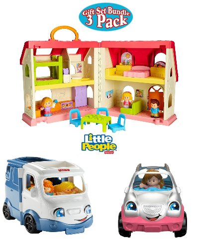 NEW!!! Fisher Price Little People Surprise and Sounds Home, Happy Sounds Camper and Little People SUV Gift Set Bundle by Little People