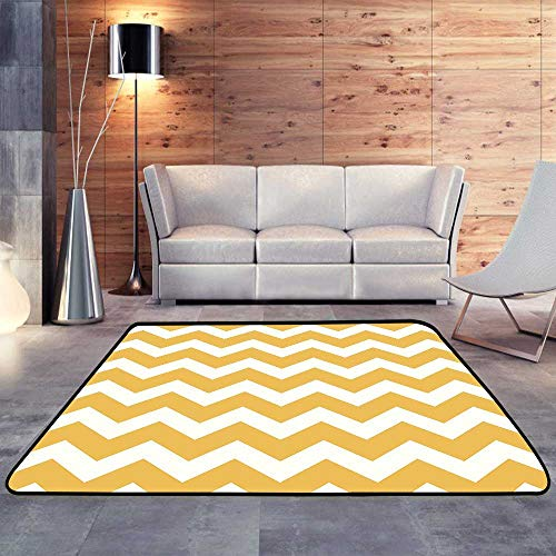 Carpet mat,Thanksgiving Chevron Pattern Yellow and whiteW 63
