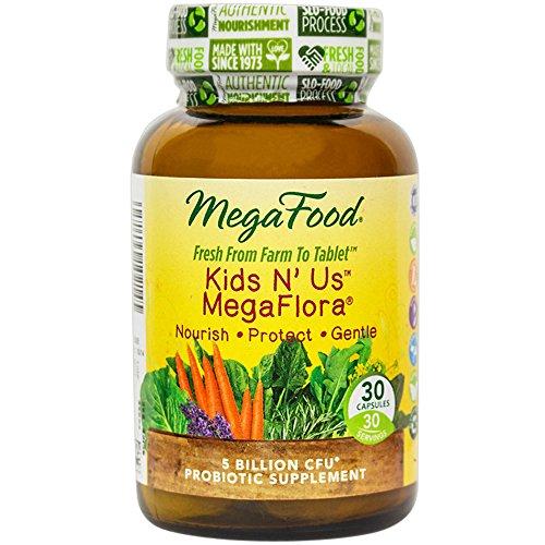 MegaFood - niños N' nos MegaFlora, mantiene la salud Intestinal, la regularidad intestinal y la inmunidad, 30 comprimidos