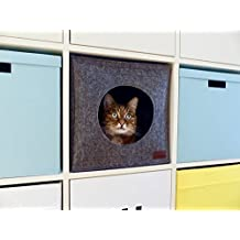 Cat Cave for IKEA and WALMART shelf units, hand-sewn premium natural quality felt material, self-warming, pillow included, modern & stylish design, also for big cats, Cat Bed clearance prime