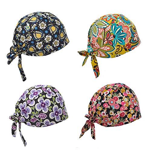 - Opromo Cotton Bleach Friendly Banded Adjustable Scrub Cap Sweatband Bouffant Hat-Assorted 15