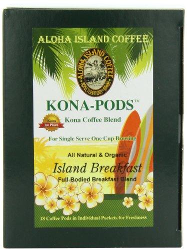 Aloha Island Coffee KONA-POD, Island Breakfast Med Light Roast, Kona & Hawaiian Coffee Blend,18-Count Coffee Pods