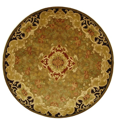 (Safavieh Classic Collection CL234B Handmade Traditional Oriental Gold and Cola Wool Round Area Rug (3'6