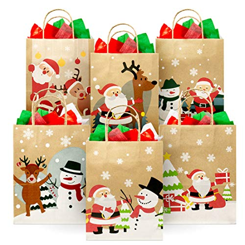 Christmas Kraft Gift Bags (24 Piece) Set – Variety Bulk Novelty Assortment Pack – Decoration, Toys Wrap, Xmas Party Favors, Holiday Treats Box, Goody Gift Bags