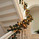 XXL künstliche Tannengirlande Weihnachtsgirlande Girlande Tanne Grün Deko Weihnachten ca 400 cm mit 96 Warmweiss LED Lichterkette, Akkubetrieb!
