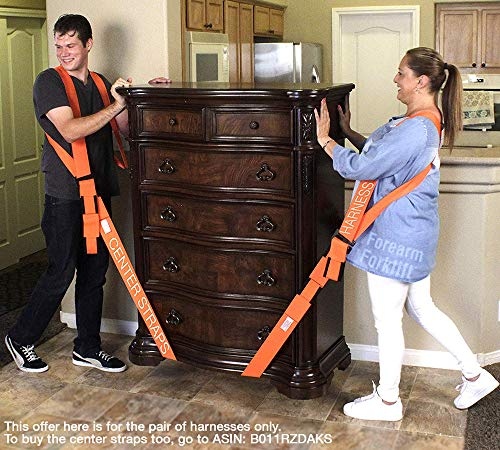 Forearm Forklift FFH2 Harness 2 | Requires Lifting & Moving Straps (Sold Separately) | 2 Person System | Lift Like A PRO and Move Heavy Appliances | Rated Up to 800 Lbs, Orange by Forearm Forklift (Image #4)