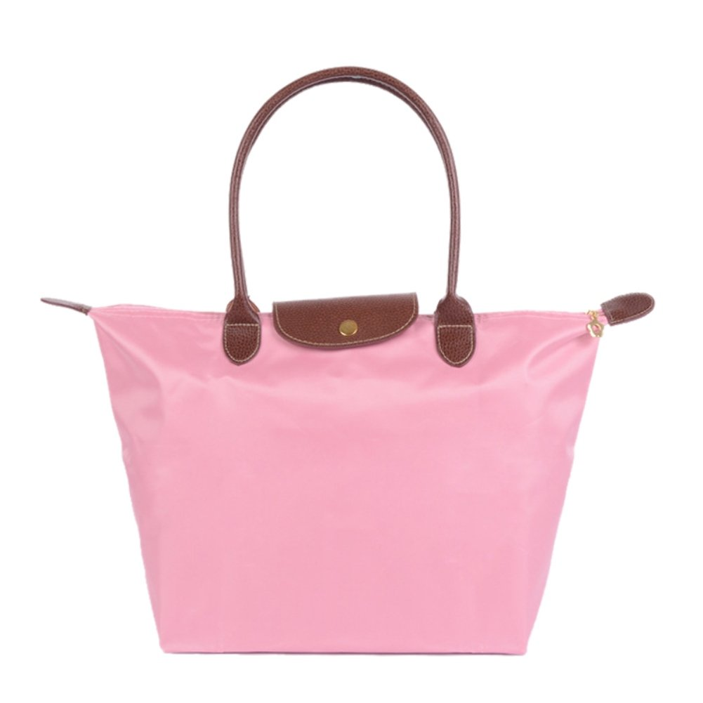 BEKILOLE Women's Stylish Waterproof Tote Bag Nylon Travel Shoulder Beach Bags-Pink Color - Small Size