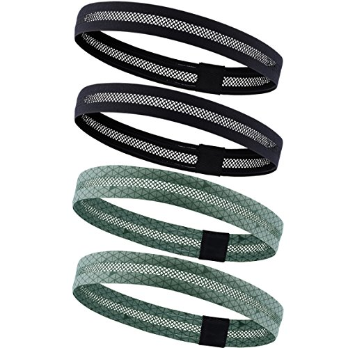 - 4 Pack Dreamlover No-slip Elastic Yoga Headband, Lightweight Mesh Sports Sweatband for Men, Running Workout Fitness Sports Headbands with Built-in Silicon for Women and Teens (Black and Army Green)